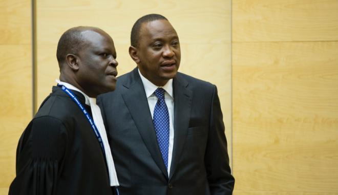 Uhuru Kenyatta (right) at the International Criminal Court (Photo: ICC)